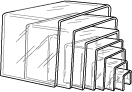 "Complete Set of 7 Clear Acrylic Risers 2"" to 8"""