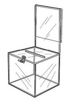 Acrylic Ballot Box with Sign Holder & Lock
