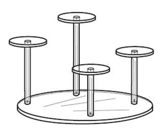 Acrylic Four (4) Pedestal with Round Base